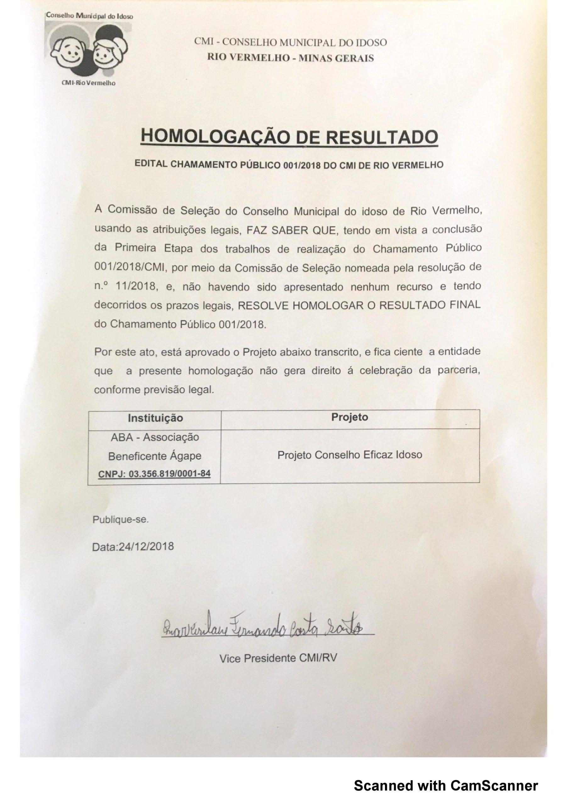 Homologação Chamamento Público 01/2018 – CMI