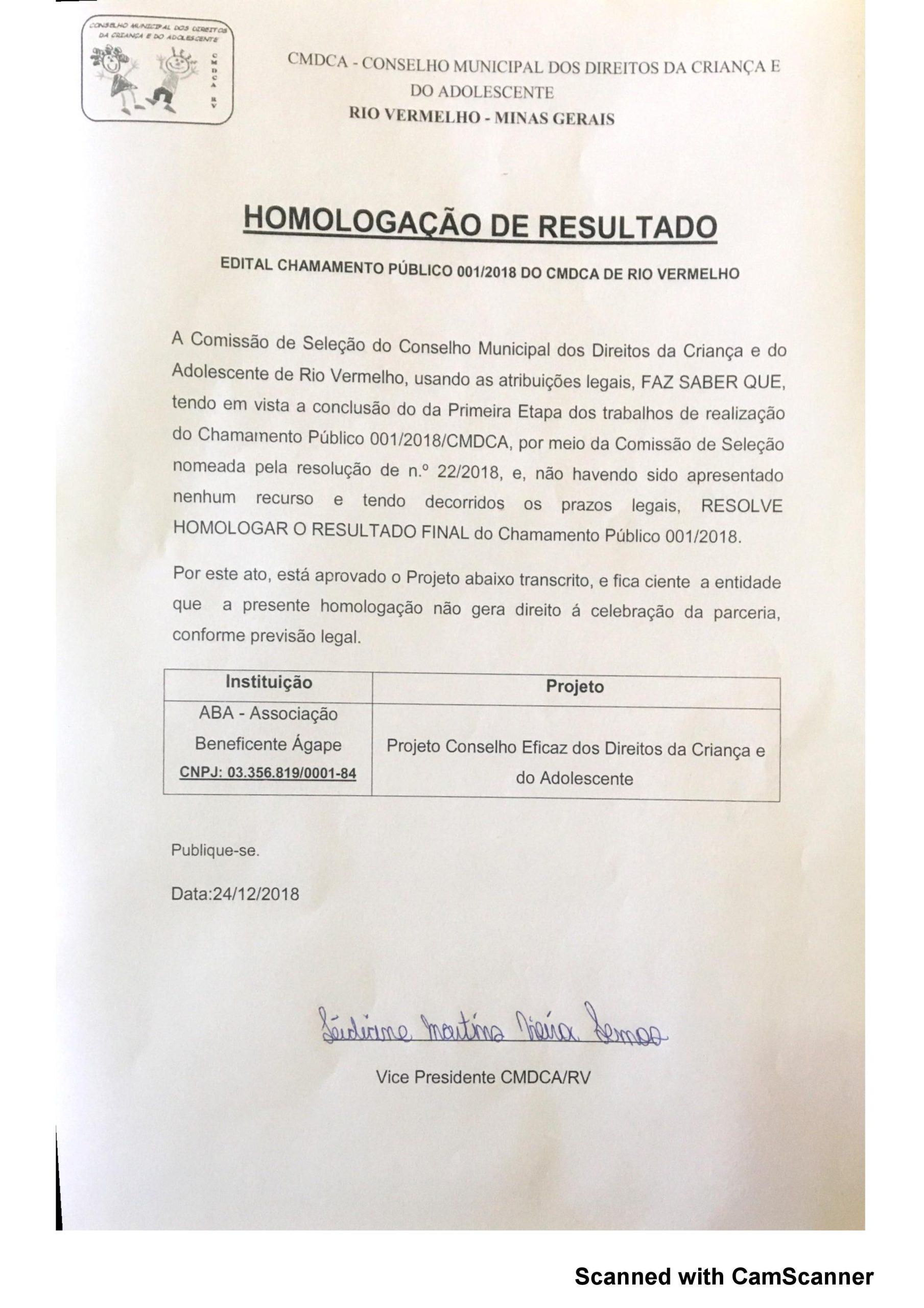 Homologação Chamamento Público 01/2018 – CMDCA