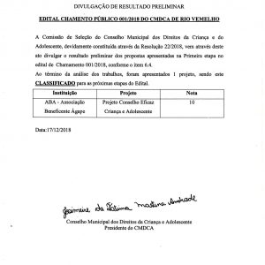 Resultado – Chamamento Público 01/2018 – CMDCA