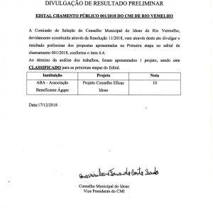 Resultado – Chamamento Público 01/2018 – CMI
