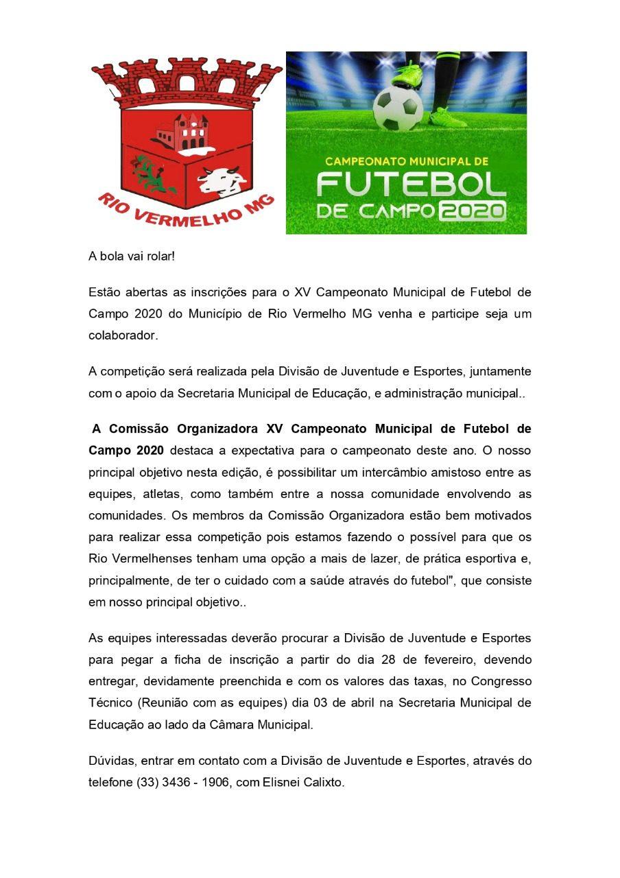 Informações importantes referentes ao XV Campeonato Municipal de Futebol
