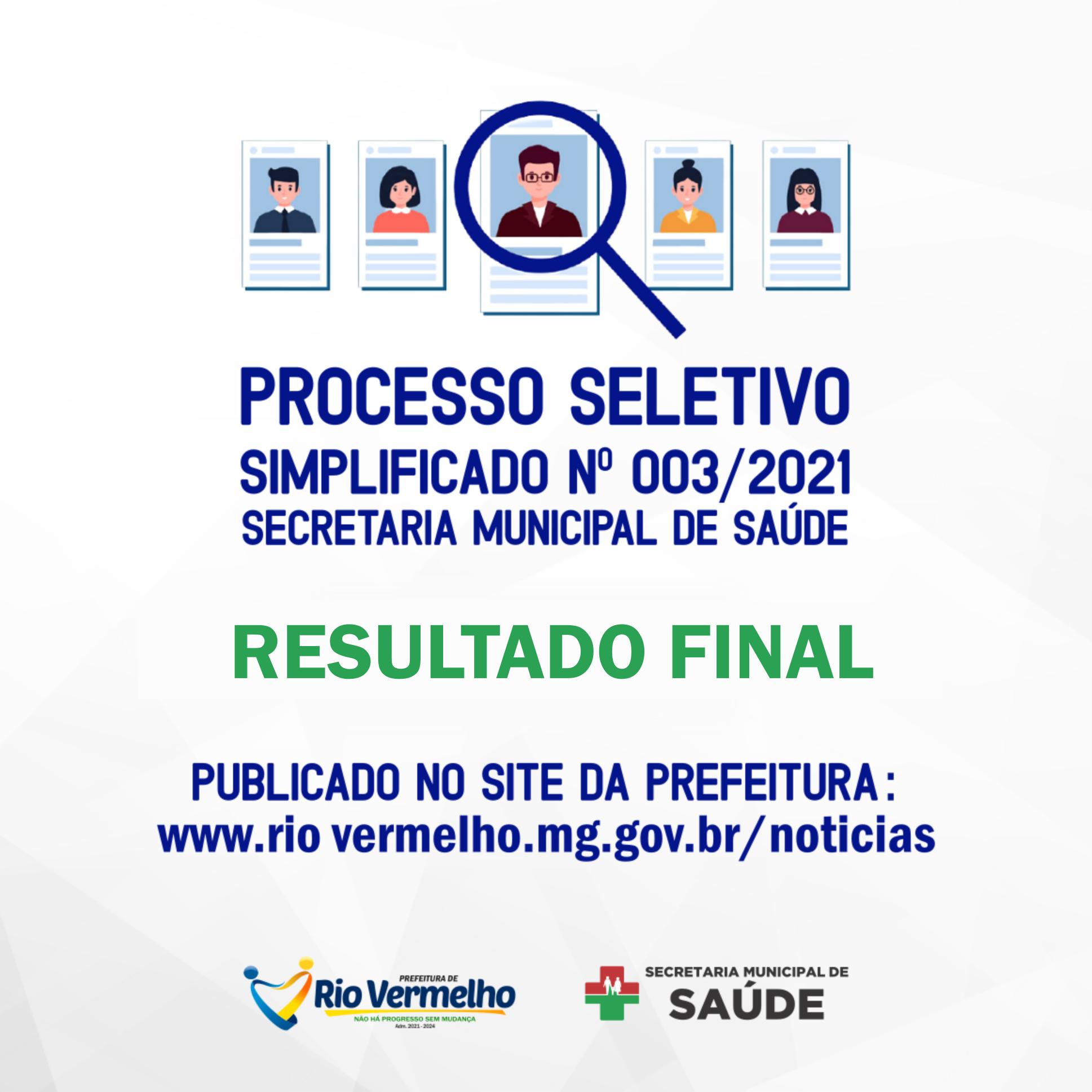RESULTADO FINAL DO PROCESSO SELETIVO SIMPLIFICADO Nº 003/2021 – SECRETARIA MUNICIPAL DE SAÚDE