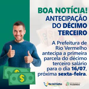 PREFEITURA ANTECIPA PARCELA DO DÉCIMO TERCEIRO