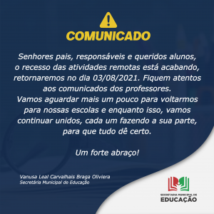 COMUNICADO DA EDUCAÇÃO