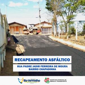RUA PADRE JADIR FERREIRA DE MOURA RECEBE RECAPEAMENTO
