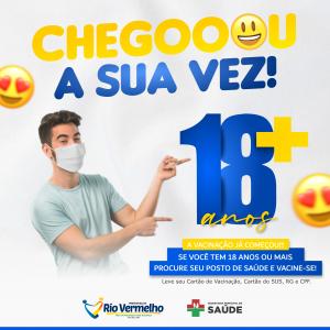 RIO VERMELHO INICIA VACINAÇÃO CONTRA A COVID-19 EM PESSOAS COM 18 ANOS OU MAIS