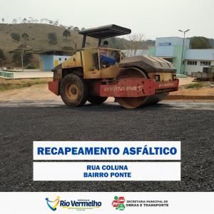 RECAPEAMENTO DA RUA COLUNA, BAIRRO PONTE
